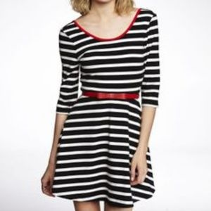 Express Black & White Skater Dress